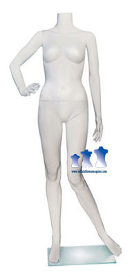 Female Mannequin, White Plastic w/Base