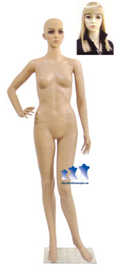 Female Mannequin, Fleshtone Plastic w/ Base & Wig